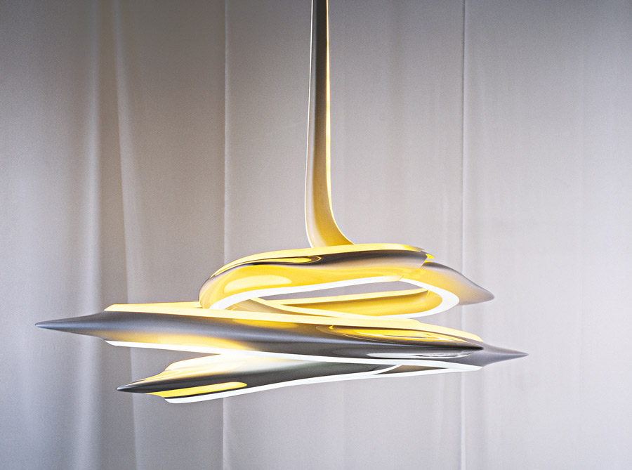 The Vortexx chandelier appears as an endless ribbon of light. Viewed in  plan, the light resembles a star, its protrusions cast outwards as if  propelled by a ...