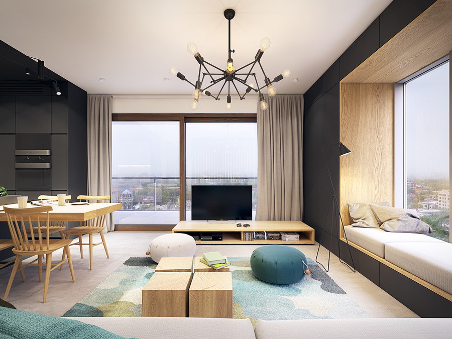 Black White And Wood Apartment With Turquoise Touch D