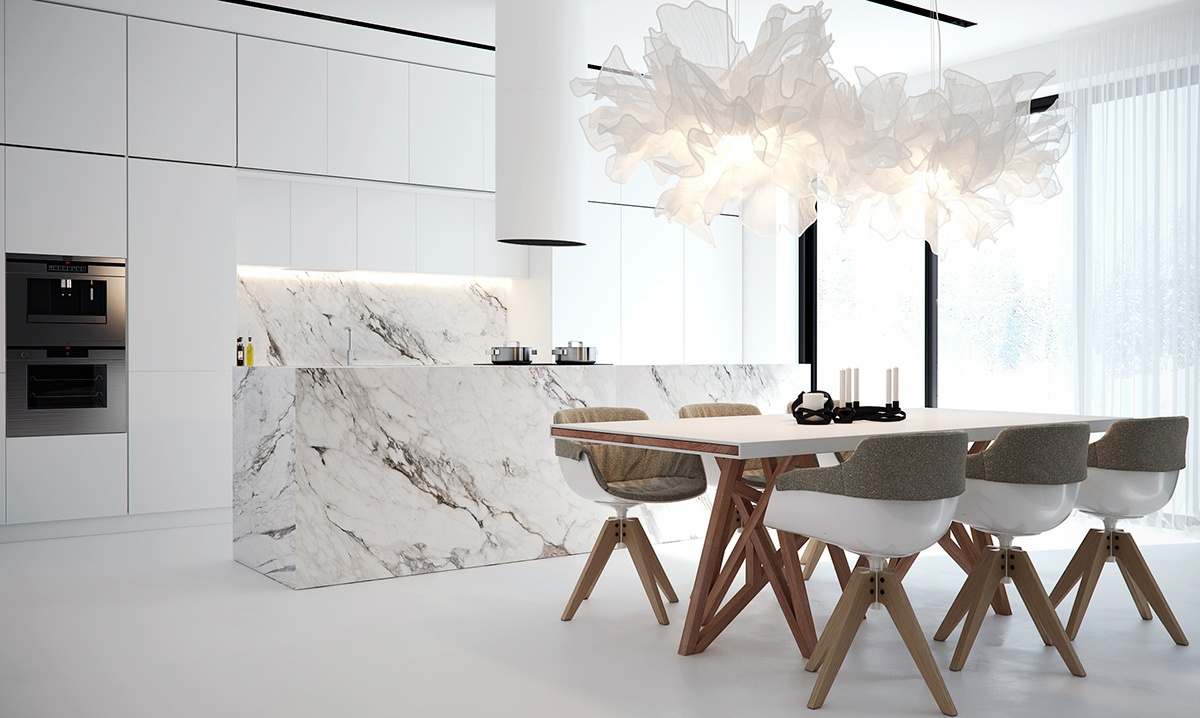 White Origami Lighting Marble Kitchen