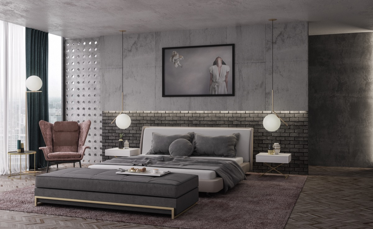 Concrete And Exposed Brick Contemporary Bedroom D Signers