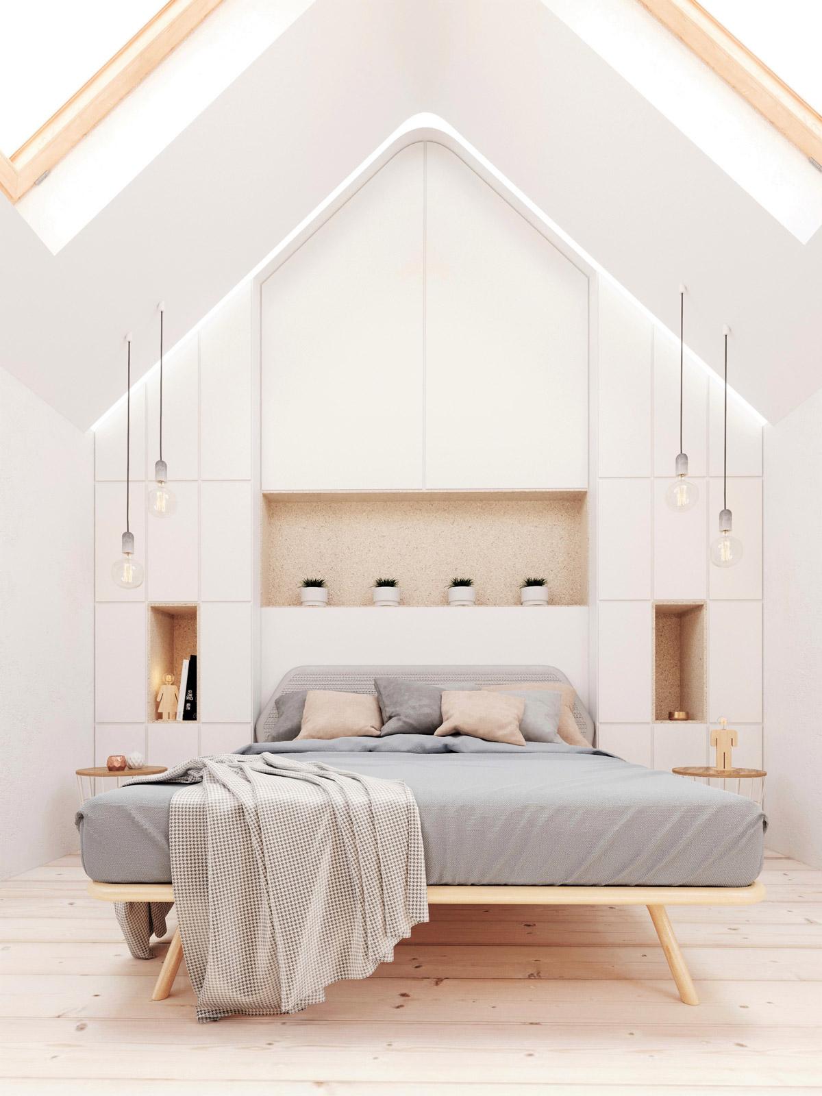 Minimalist Bedroom With Unique Ceiling