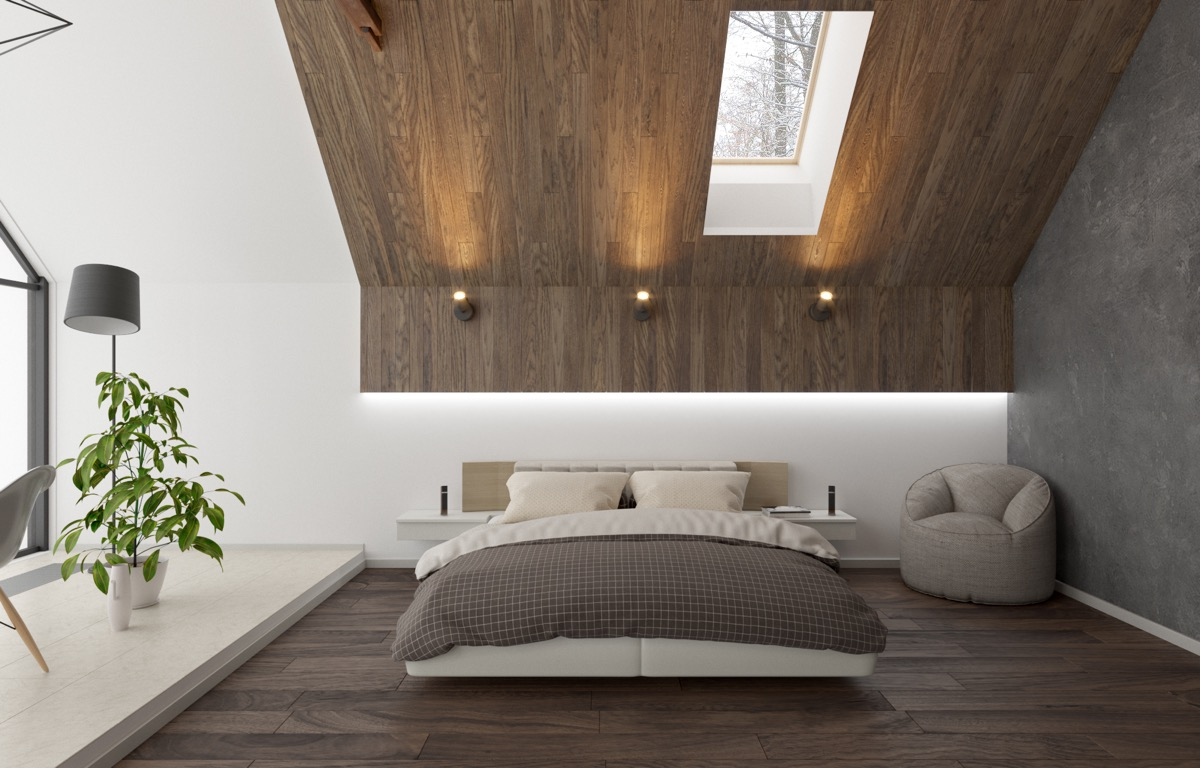Image of: Sloped Bedroom Ceiling With Modern Wood Panels D Signers