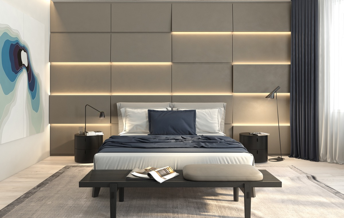 Unique Bedroom Wall Panels With Lighting